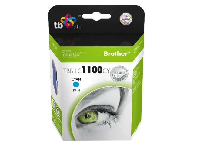 Tusz do Brother LC980/1100 TBB-LC1100CY CY 100% nowy