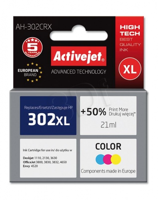 Tusz Activejet AH-302CRX (Hewlett Packard HP 302XL F6U67AE) premium 21ml tr