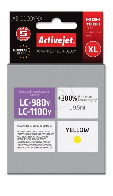 Tusz Activejet AB-1100YNX (Brother LC1100Y/980Y) supreme 19.5ml yellow