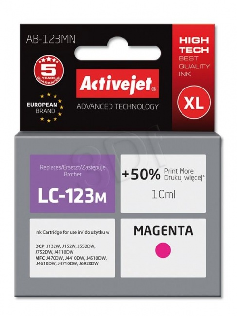 Tusz Activejet AB-123MN (Brother LC123M/121M) supreme 10ml magenta