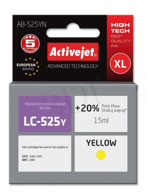 Tusz Activejet AB-525YN (Brother LC525Y) supreme 15ml yellow