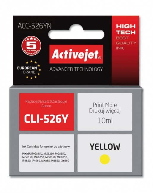 Tusz Activejet ACC-526YN (Canon CLI-526Y) supreme 10ml yellow Chip