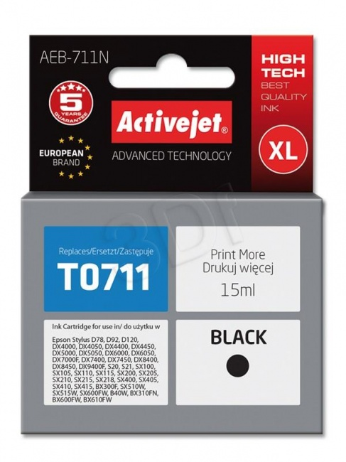 Tusz Activejet AEB-711N (Epson T0711 T0891 T1001) supreme 15ml czarny