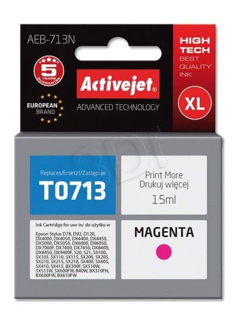 Tusz Activejet AEB-713N (Epson T0713 T0893 T1003) supreme 15ml magenta