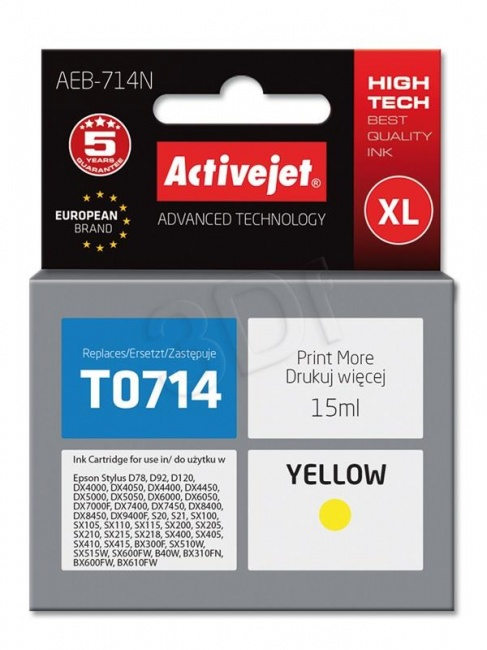 Tusz Activejet AEB-714N (Epson T0714 T0894 T1004) supreme 15ml yellow