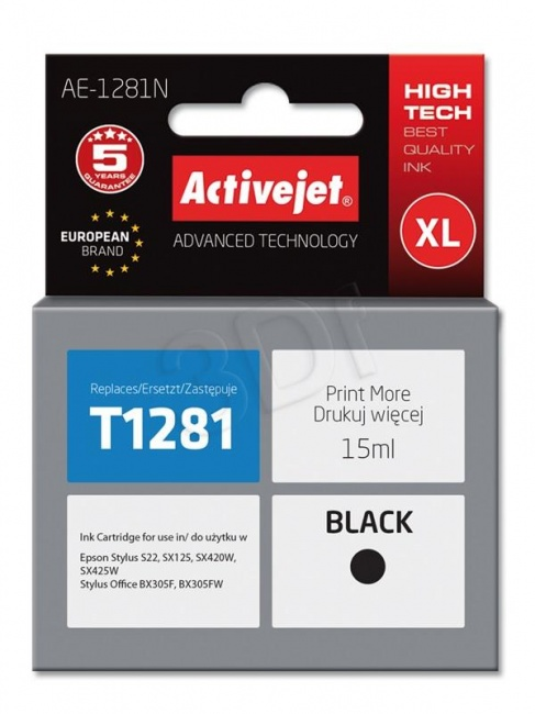 Tusz Activejet AE-1281N (Epson T1281) supreme 15ml czarny