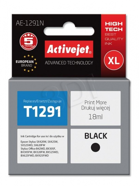 Tusz Activejet AE-1291N (Epson T1291) supreme 18ml czarny