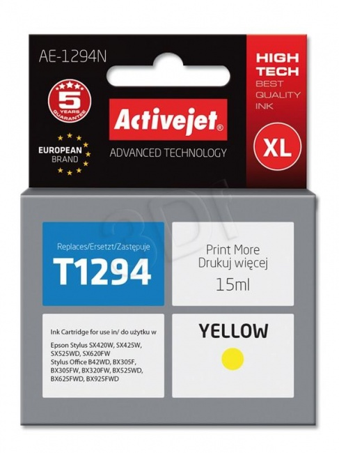 Tusz Activejet AE-1294N (Epson T1294) supreme 15ml yellow