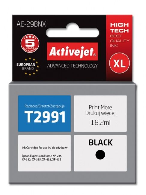 Tusz Activejet AE-29BNX (Epson 29XL T2991) supreme 18 2ml czarny Chip