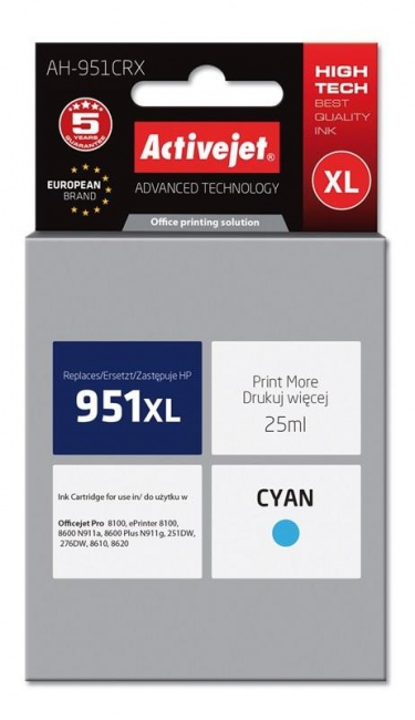 Tusz Activejet AH-951CRX (Hewlett Packard HP 951XL CN046AE) premium 25ml cyan Chip