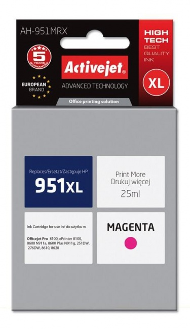 Tusz Activejet AH-951MRX (Hewlett Packard HP 951XL CN047AE) premium 25ml magenta Chip