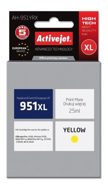 Tusz Activejet AH-951YRX (Hewlett Packard HP 951XL CN048AE) premium 25ml yellow Chip