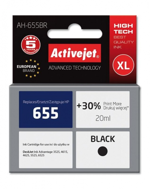 Tusz Activejet AH-655BR (Hewlett Packard HP 655 CZ109AE) premium 20ml czarny Chip