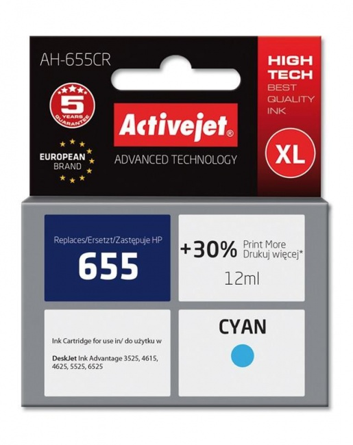 Tusz Activejet AH-655CR (Hewlett Packard HP 655 CZ110AE) premium 12ml cyan Chip