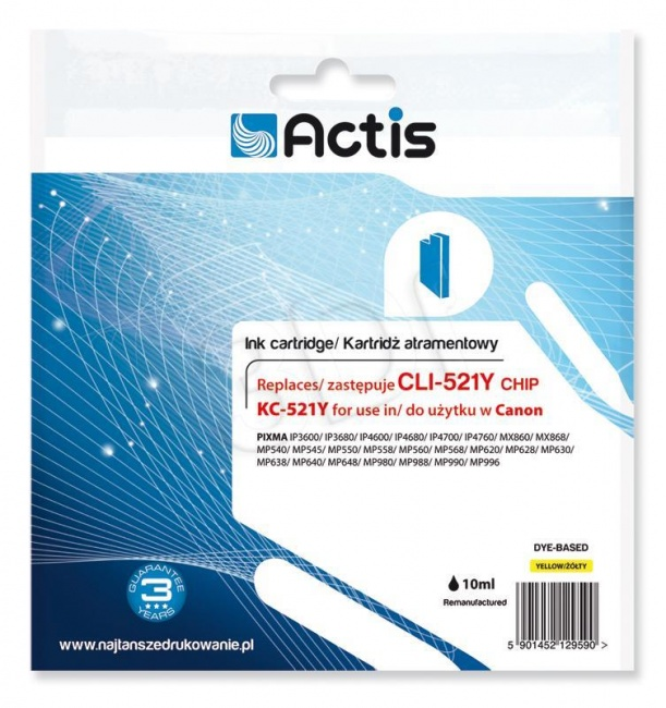 Tusz Actis KC-521Y (Canon  CLI-521Y) standard 10ml yellow Chip