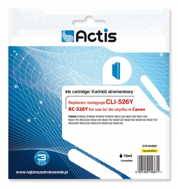Tusz Actis KC-526Y (Canon  CLI-526Y) standard 10ml yellow Chip